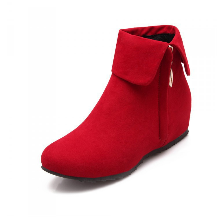 Short Boots Shoes Models Flat-Bottom-Increase Fashion Mouth The Round-Head Cuffed