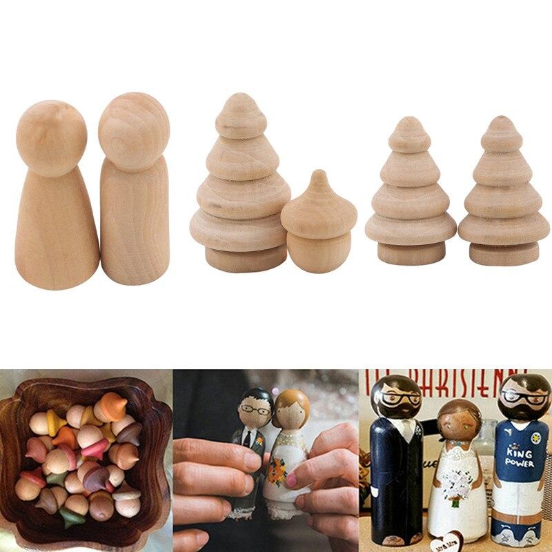 10 pçs de madeira peg pessoas aninhamento conjunto peg bonecas artesanato brinquedo diy decoração para casa pinecone/menino/árvore/menina