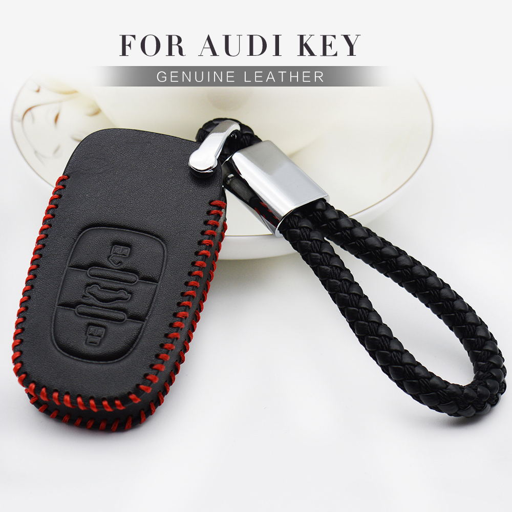 For <font><b>Audi</b></font> A2 A3 8P 8L <font><b>A6</b></font> C6 4F <font><b>C5</b></font> Q7 A4 B6 B7 B8 B9 Q3 Q5 Genuine Leather Car Styling <font><b>Key</b></font> Fob Cover <font><b>Remote</b></font> <font><b>Key</b></font> Protection Case image