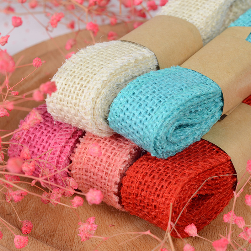 Natural Jute Ribbon Decoration Embellishments 5 Yard Rustic Wedding Ribbon with Cotton Lining for Crafts Burlap Ribbon Brown with White Lining