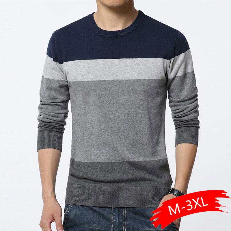 2020 Autumn Casual Men's Sweater O-Neck Striped Slim Fit Knittwear Mens Sweaters Pullovers Pullover Men Pull Homme M-3XL