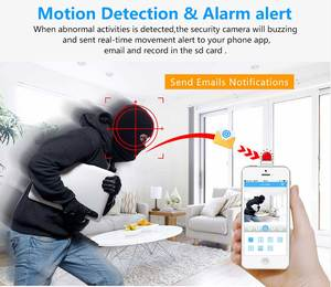 Image 2 - AOUERTK caméra de Surveillance IP WifI hd 720P, dispositif de sécurité sans fil, avec détection de mouvement et Audio bidirectionnel, avec détection automatique