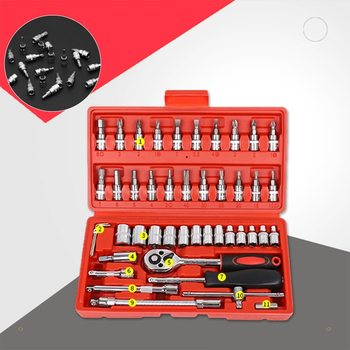 46Pcs/Set Car Spanner Socket Batch Head Screwdriver Tool Spanner Torque Ratchet Kit Auto Workshop Repair Tools Accessories feita torque wrench set activities ratchet gears flexible open end bike spanner car repair tools 8 9 10 11 12 13mm 1pc