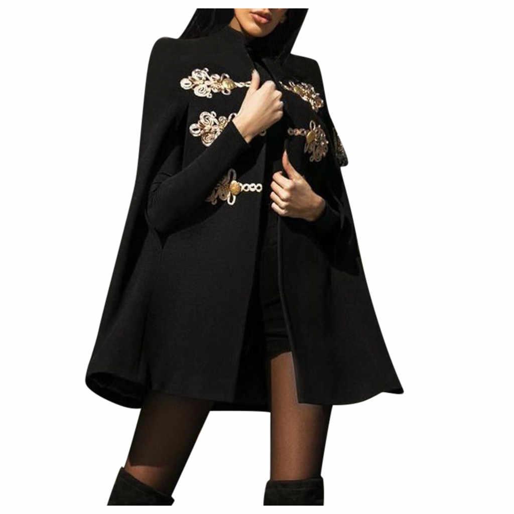 Moda bağbozumu kadın yün ceket siyah nakış baskılı ortaçağ pelerin Retro gotik Cape palto tam uzunlukta ceket