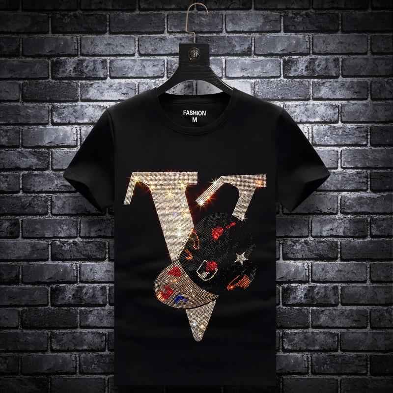 2020 Letter Rhinestones T Shirts Men Brand Short Sleeve Fashion Man Streetwear O Neck Slim Modal Cotton Tshirts Plus Size 7XL