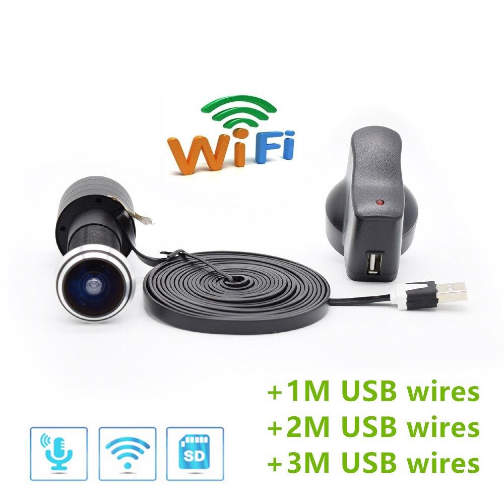 TF Card WIFI Audio Door Eye Hole Home 1080P 1.78mm Wide Angle FishEye Lens Network Mini Peephole Wifi Door IP Camera P2P V380