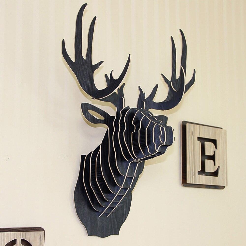 Dozzlor 3D Animal de madera cabeza de ciervo modelo de arte hogar Oficina colgante de pared decoración soportes de almacenamiento estantes regalo artesanía decoración para el hogar