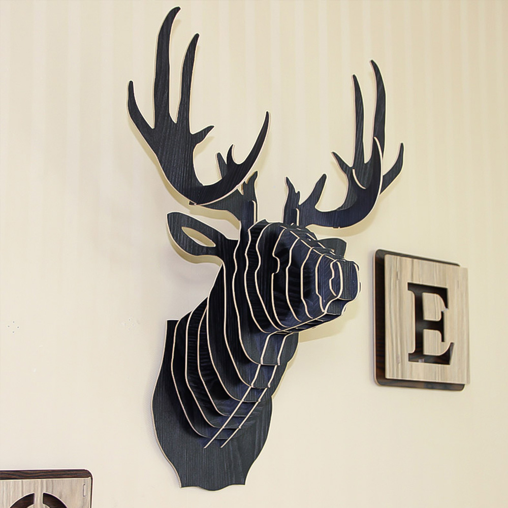 Dozzlor 3D Wooden Animal Deer Head Art Model Home Office Wall Hanging Decoration Storage Holders Racks Gift Craft  Home Decor