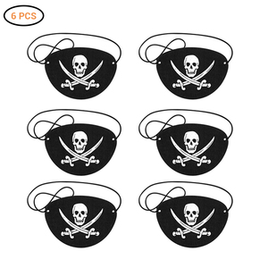 6Pcs Pirate Eye Patches Felt One Eye Skeleton Captain Eye Patches for Halloween Christmas Pirate Theme Party