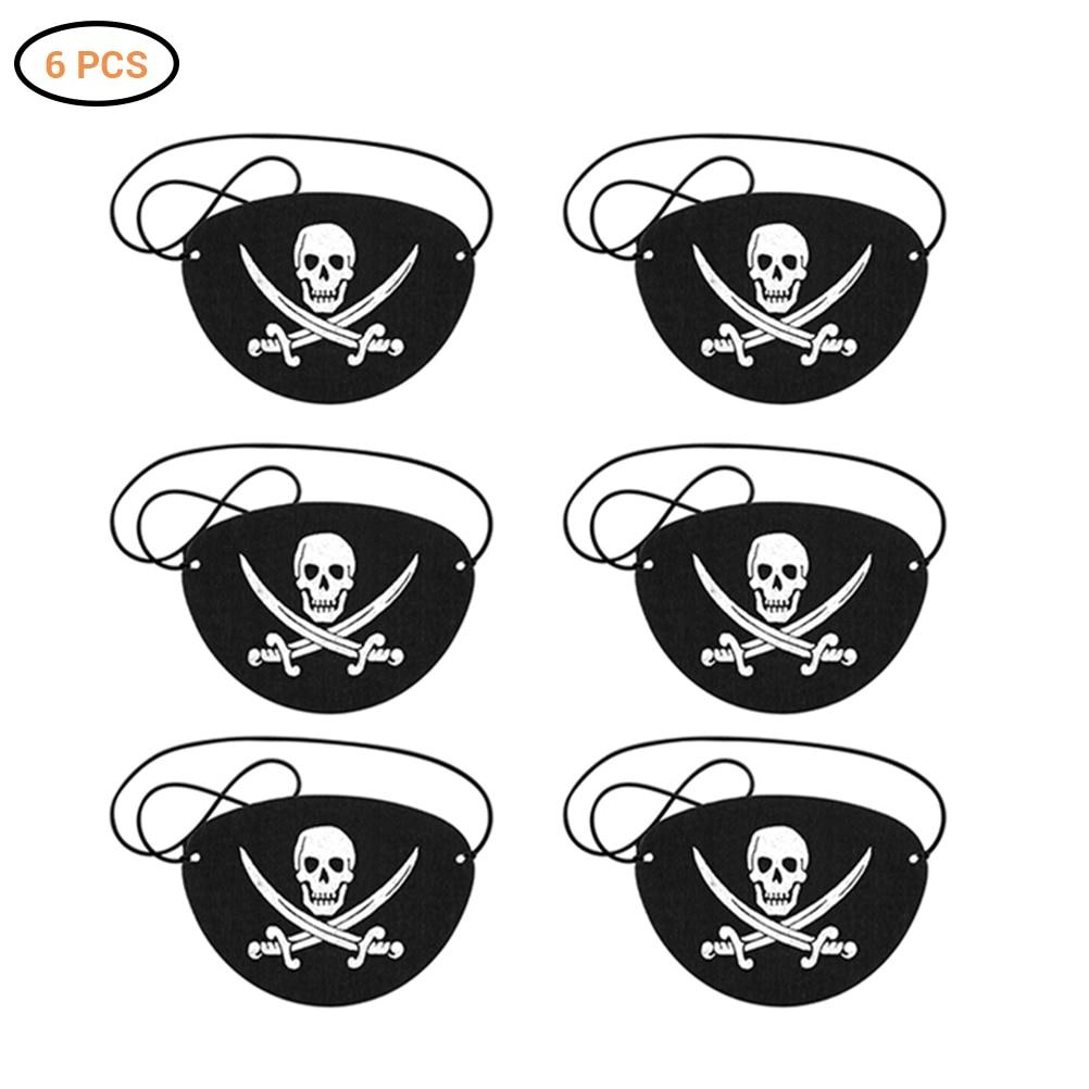 Patchs yeux de Pirate en feutre squelette, 6 pièces, patchs des yeux de Pirate, pour fête à thème dhalloween, noël