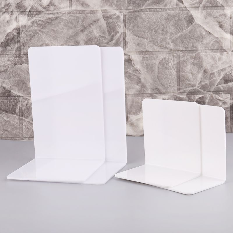 2Pcs White Acrylic Bookends L-shaped Desk Organizer Desktop Book Holder School Stationery Office Accessories DXAC