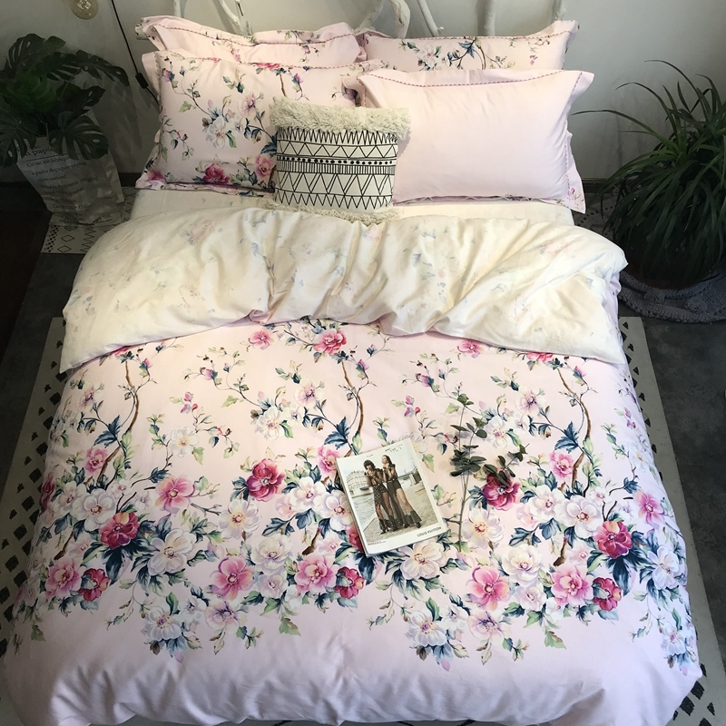 Chinoiserie Floral Duvet Quilt Cover Tree Blossom And Birds Pink Bedding Set For Girls Women 100%Cotton Soft Queen King Size 4Pc