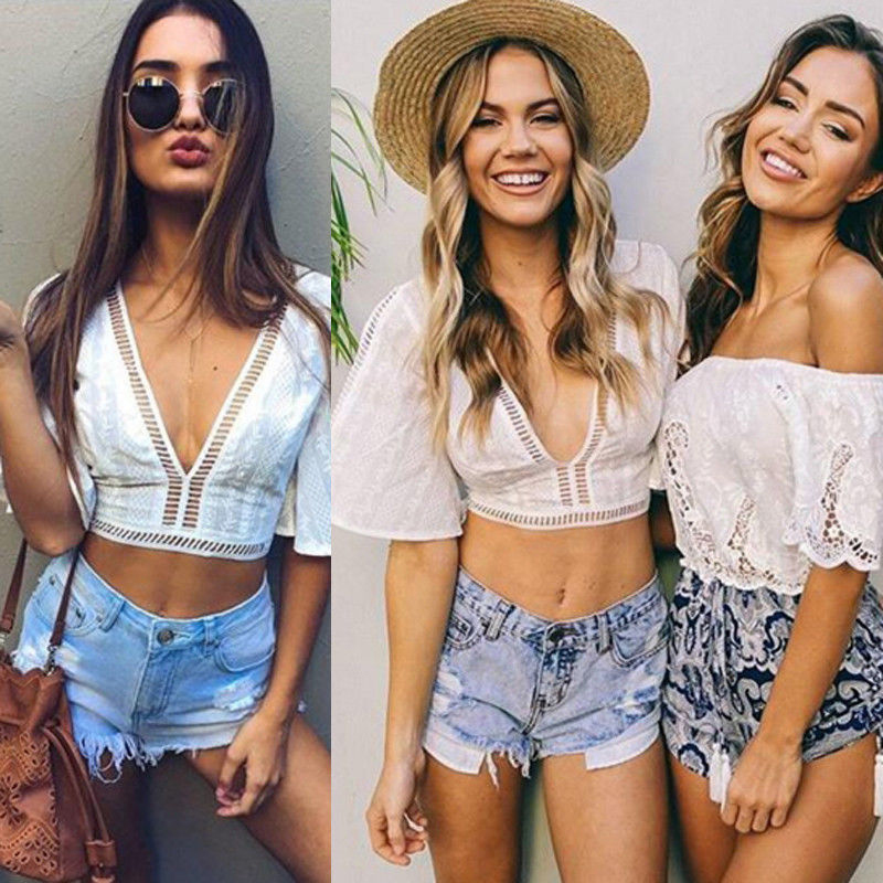 Tops Mujer Verano 2019 Haut Femme New Sexy Low-cut V-neck Solid Color Openwork Pattern Short-sleeved Short Vest image