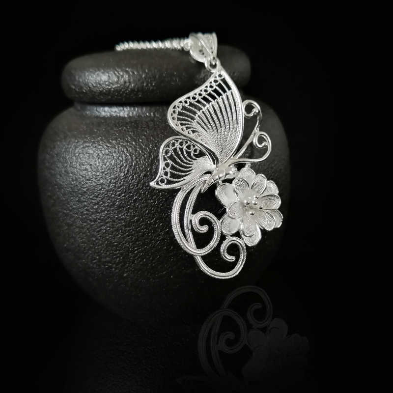 999 Sterling Silver Butterfly Chakra Pendant Women Accessories Pendants Ethnic Handmade Luxury Jewelry Vintage Free Shipping
