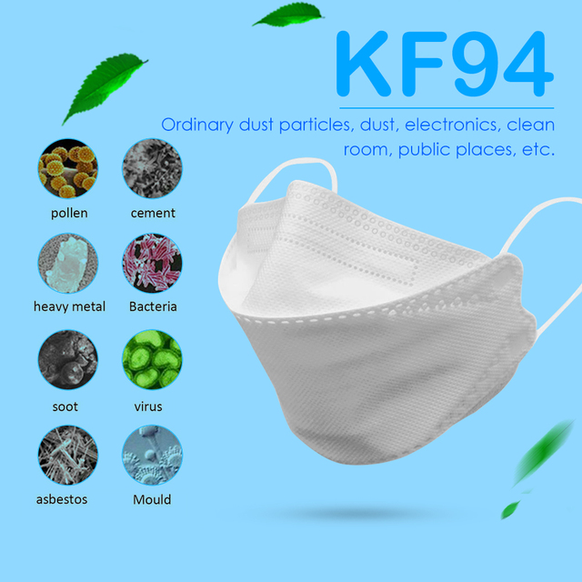5pcs KF94 Face Masks 4 Layer 94% Filtration Mouth Mask Breathable Anti-flu Protective Mask Anti Mouth Covers 5
