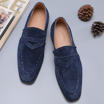 NEW Men Suede Loafers Comfortable Flat Casual Shoes Men Breathable Slip-On Soft Leather Driving Shoes Moccasins heinrich new style design flat men luxury loafer shoes casual breathable slip on driving shoes chaussure de securite pour homme
