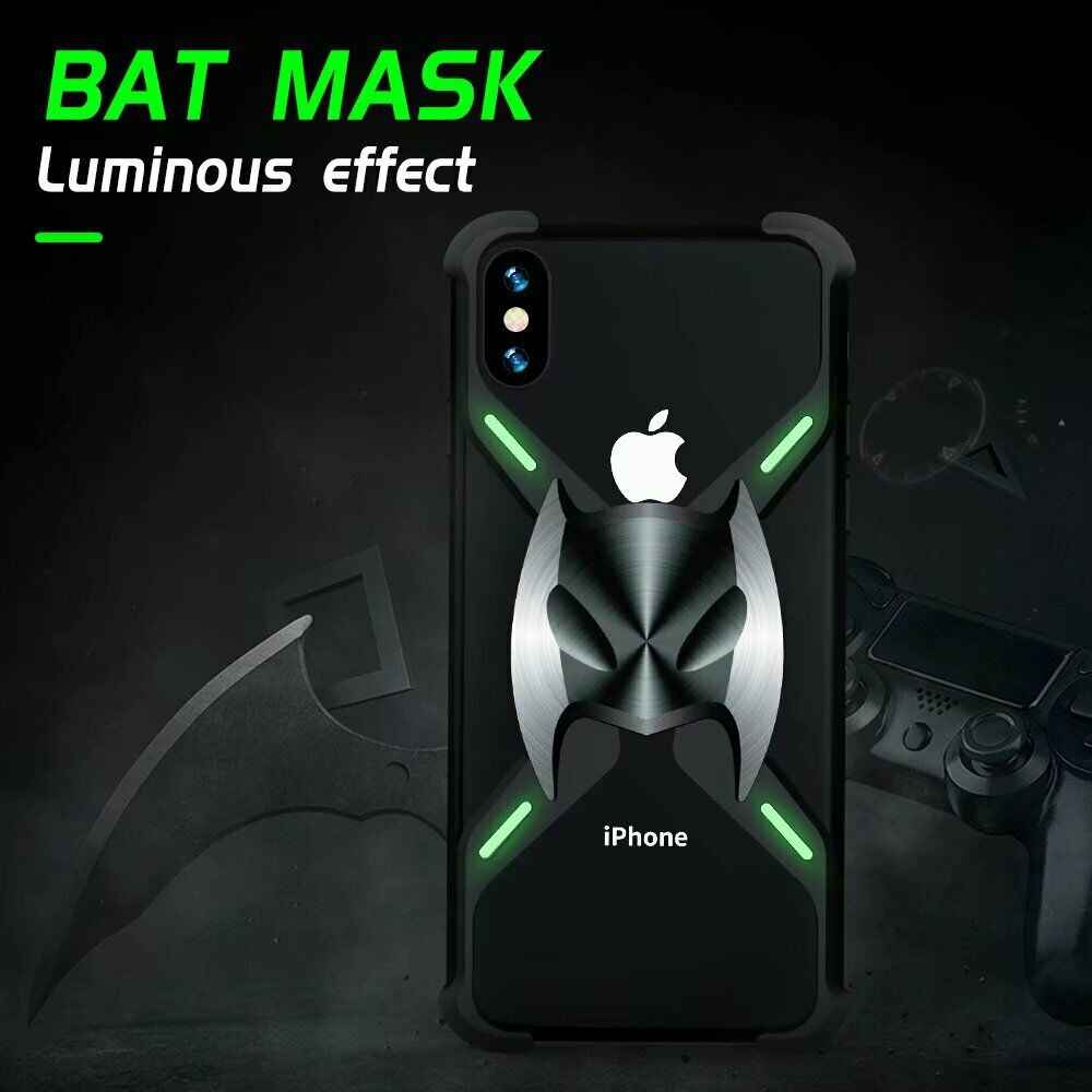 ل فون 11 برو X XS ماكس XR 8 7 زائد الفاخرة المغناطيسي الامتزاز الخفافيش قناع معدن الألمنيوم الوفير الإطار حالة درع غطاء كوكه