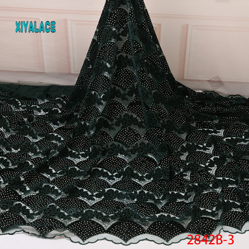 African Lace Fabric 2019 African Lace Lace Embroidery Fabric Flannelette Lace Fabric And Diamond Wedding Dress Fabric YA2842B-1