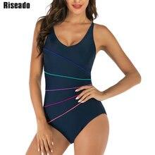 Riseado New Sport Competition Swimwear Women Striped One Piece Swimsuit Female Swimming Suits for Women Bathing Suits one piece suits modis m181u00327 women swimsuit for female tmallfs