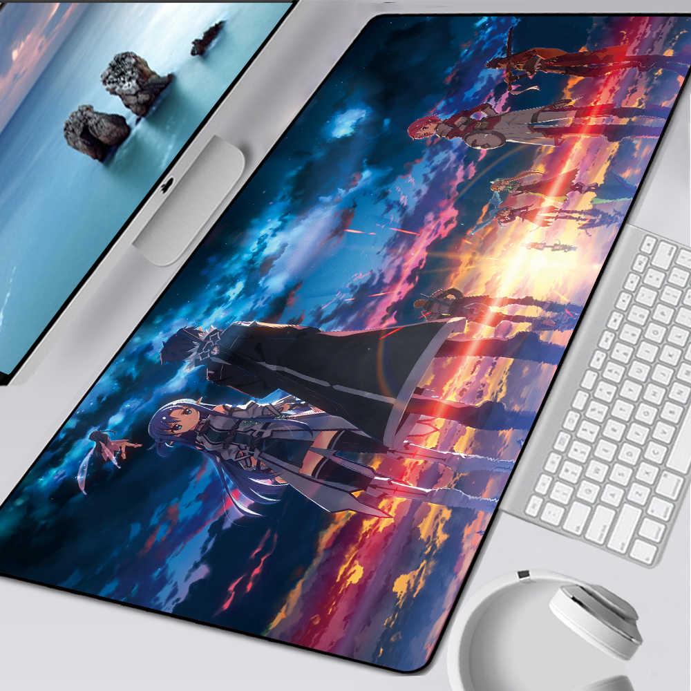 Alfombrilla de ratón de goma antideslizante para juegos en línea Sword Art XXL, alfombrilla de ratón para ordenador, alfombrilla para teclado, escritorio, accesorios para PC
