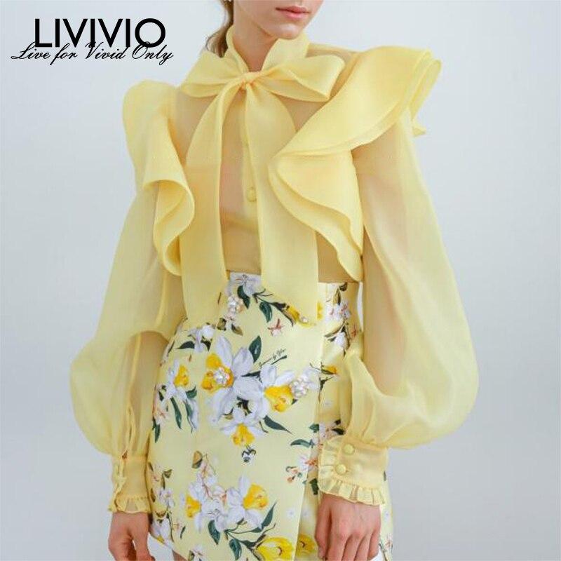 [LIVIVIO] Lace Up Bow Collar Ruffle Puff Long Sleeve Single Breasted Sheer Blouse Women Yellow Shirt Top Ladies Streetwear New