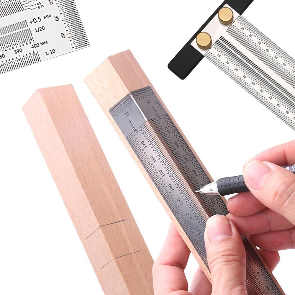 Scale Ruler T-type Hole Ruler Stainless Woodworking Scribing Mark Line Gauge Carpenter Measuring Tool