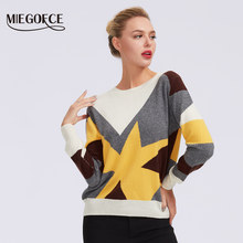 MIEGOFCE 2019 round neck for women casual knitted winter loose-style sweaters jumper women's patchwork pullovers chic blouses(China)