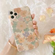 MANGEL Retro Blume floral Weiche Silicon Phone Cases Für iphone 11 Pro Max XR X XS Max 7 8Plus fall Für iPhone 12 Pro Zurück Abdeckung