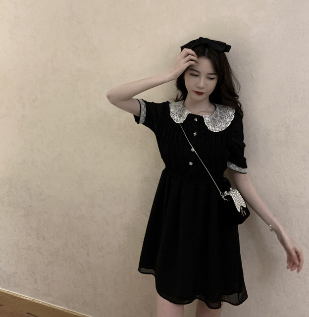 2021 Summer Retro Lace Peter Pan Collar Short Sleeve Black Chiffon Vestido Holiday A-line Chic Casual Ladies Slim Dress 6