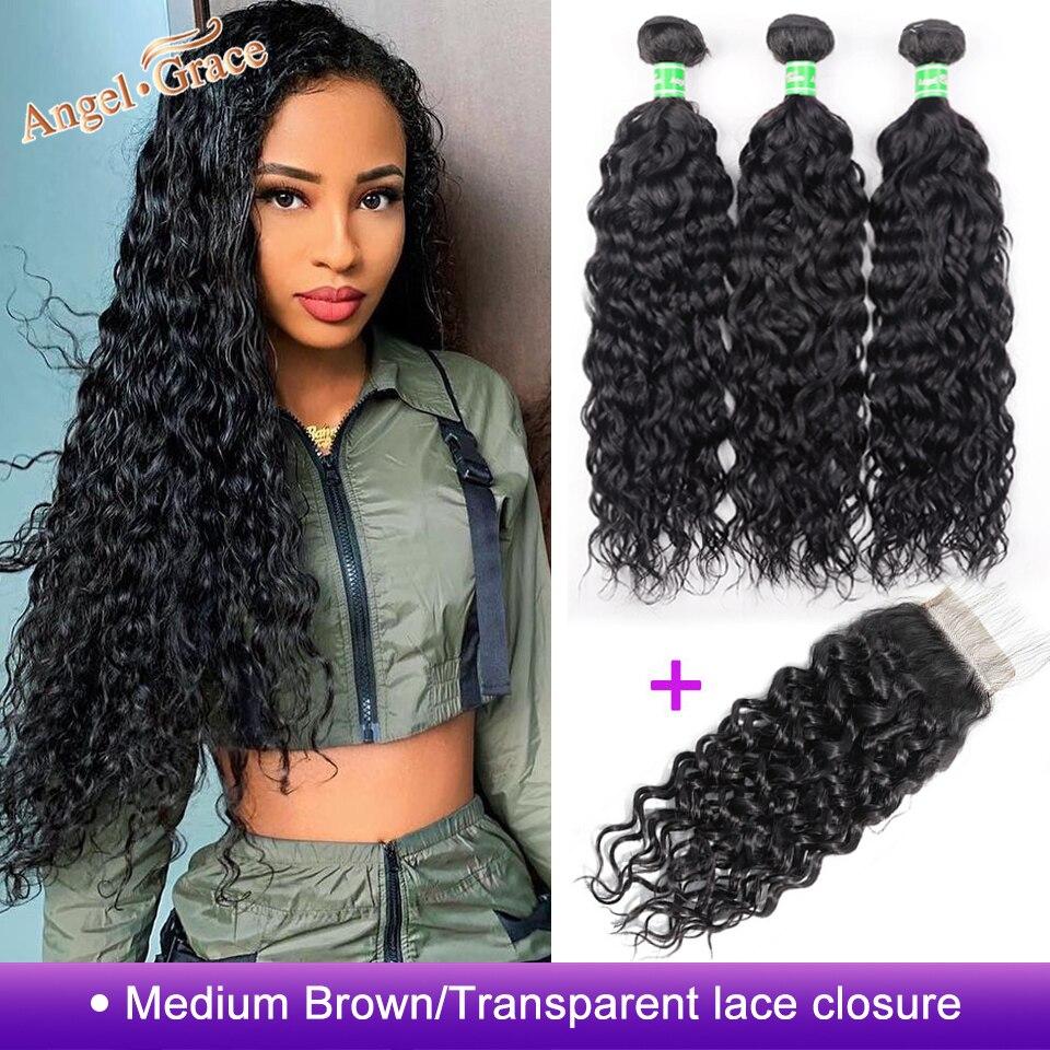 He1b39c03f17c4a8cbb15b7c71251c5f6L AngelGrace Hair Water Wave Bundles With Closure Remy Human Hair 3 Bundles With Closure Brazilian Hair Weave Bundles With Closure