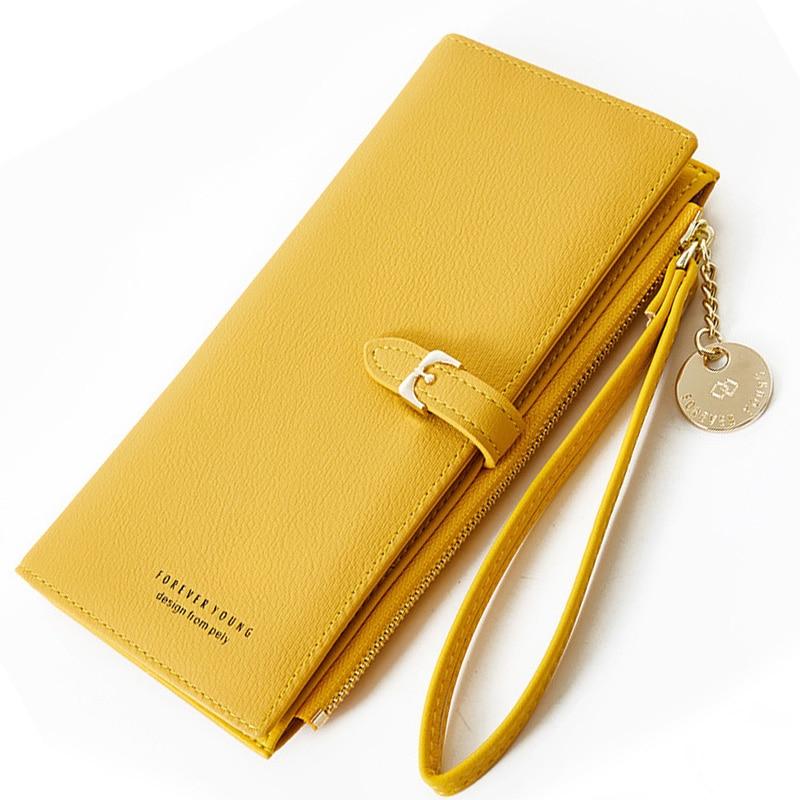 Женский Длинный кошелек с ремешком на запястье, Дамский клатч с несколькими отделениями на молнии, кредитница с кармашком для телефона