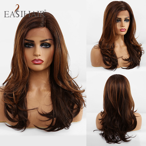 Image 4 - EASIHAIR Brown Lace Front Synthetic Wigs with Baby Hair Wavy Lace Wigs for Women High Density Natural Hair Cosplay Wigs