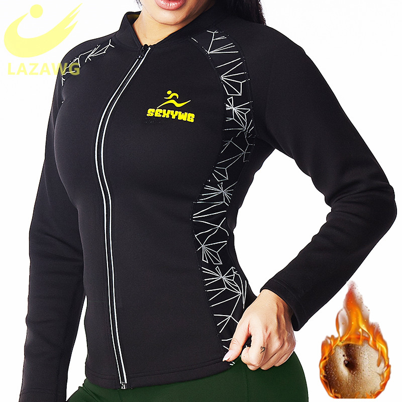LAZAWG bel eğitmen üst sıcak ter neopren gömlek Sauna ter tankı üstleri uzun kollu fermuar yağ yakıcı vücut şekillendirici spor egzersiz