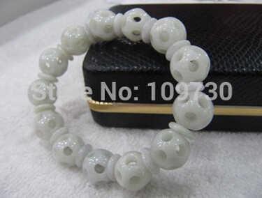 送料無料>>>>> 909186 FINE Certified A グレード翡翠 (アクア stoneite) 彫ラウンドビーズブレスレット