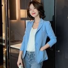 Temperament Commuter Solid Color Long Sleeve Blazer Women Casual single button office jacket female 2019 autumn short suit