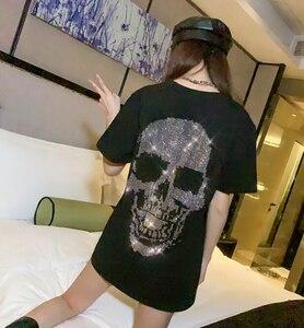 Image 1 - スカル tシャツの女性のファッションブランド 2020 夏のヨーロッパスタイル重工業ホットスタンプのデザイン半袖女の子 t