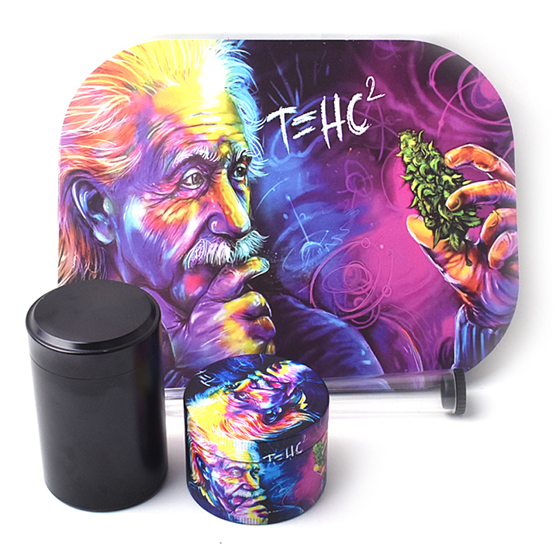 Rolling Tray Weed Grinder Set with Magnetic Lid 18X14cm Rolling Papers Tobacco Grinders Metal Trays Kit Smoking Accessories 1