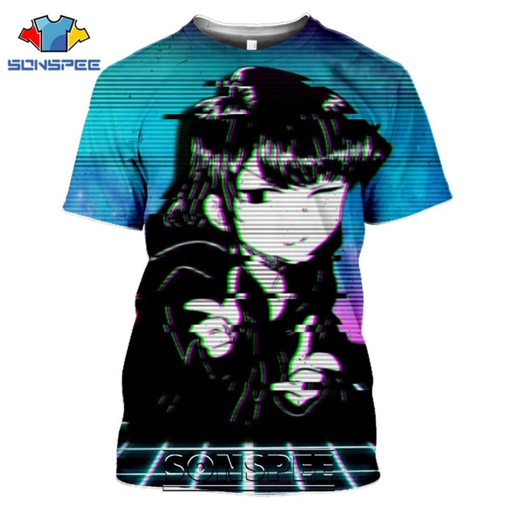 SONSPEE T-Shirts Komi 3D Print Men Women Short Sleeve Casual Hip Hop Streetwear Funny Girl Anime Komi-San Tees Tops Shirt