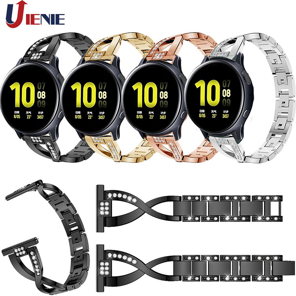 20mm Watchband Strap for Samsung Galaxy Watch Active 2 40mm/44mm Smart Bracelet Stainless Steel Alloy Band for Gear S2/Sport