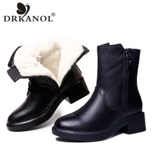 Snow-Boots Heel Warm-Shoes Thick Genuine-Cow-Leather Women Winter Fur Ankle Wool DRKANOL