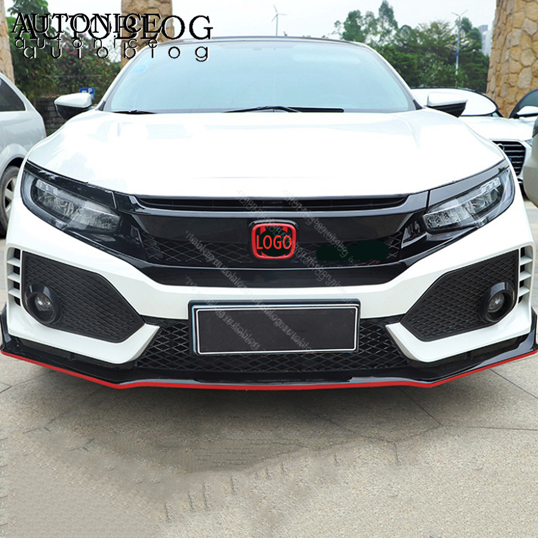 2pc RED  Front And Back Logo Badge Decoration Cover Trim Fit For Honda Civic Accessories2016 2017 2018 2019 ABS