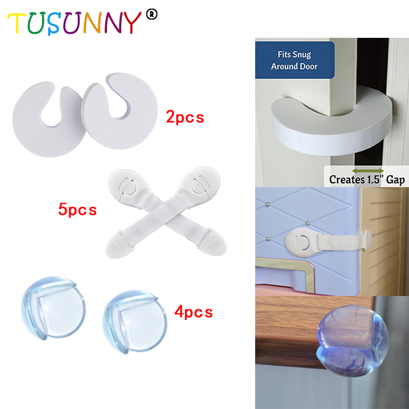 TUSUNNY 11 Pcs/lot Baby Safety Drawer Lock Door Stopper And PVC Clear Corner Protector Combination Baby Protection Stopper Holde