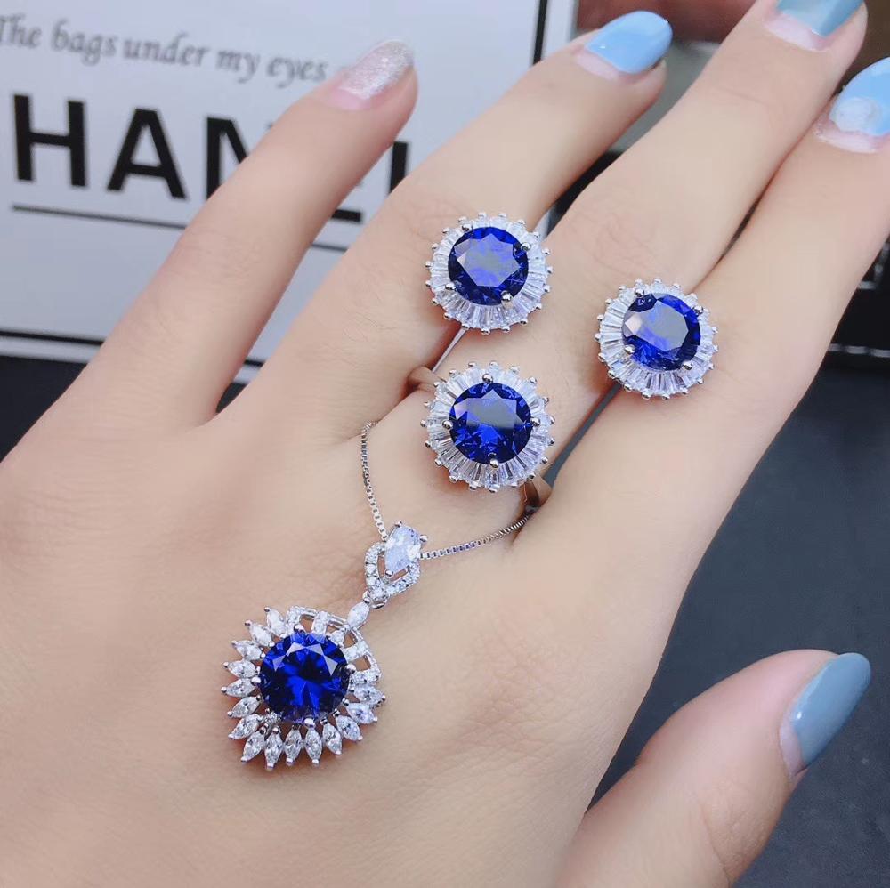 Qi xuan_pierre bleu foncé Simple élégant pendentif bijoux Sets_Real bijoux sets_qualité garantied_fabricant directement vente