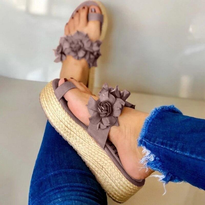 Woman Slippers Lady Platform Flower Slippers Casual Beach Flip Flops Sandals Women Sandals Summer Sexy High Heel Shoes 2020