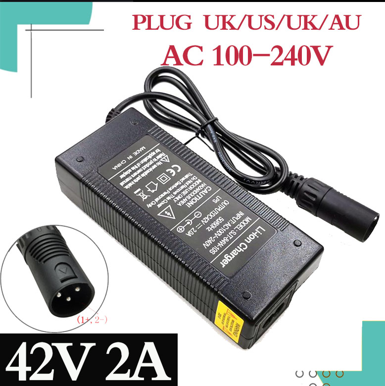 42V 2A E-<font><b>bike</b></font> Lithium <font><b>Battery</b></font> <font><b>Charger</b></font> for <font><b>36V</b></font> 10S <font><b>electric</b></font> <font><b>bike</b></font> lithium <font><b>battery</b></font> XLR Plug Input 100-240V free shipping image