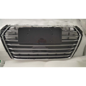 Image 2 - A4 B9 Modified S4 Style Chrome Emblem Front Bumper Engine Grill Grids for Audi A4 B9 S4 RS4 Sline 2016 2017 2018 2019