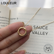Louleur 925 Sterling Silver Circle Pendant Necklace Female Geometric Round Gold For Women Fine Jewelry Birthday Gifts
