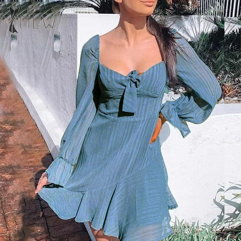 NLW Flare Long Sleeve Women Dress Autumn Winter Ruffle Mesh Short Chiffon Dress Bowknot Elegant Solid Blue Mini Dress Vestidos