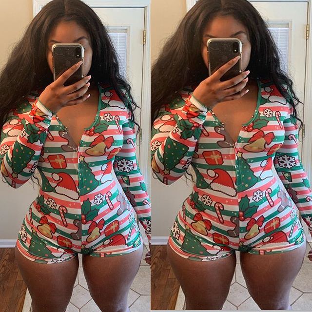 hirigin 2020 New Christmas Bodysuit Women Fashion Printed Long sleeve Single-breasted Jumpsuits Sexy Women Homewear Sleepwear