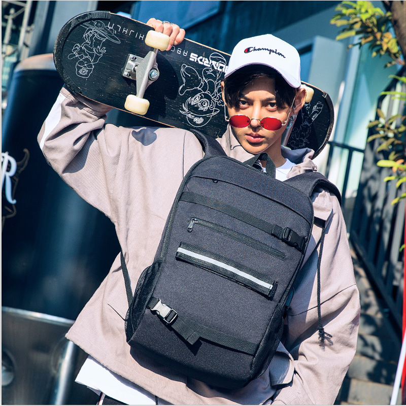 College Freestyle Skateboard Backpack Laptop Password Lock Anti-theft Shoulder Backpack Parkour Longboard Wheel USB Charge Bags